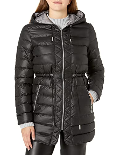 Kenneth Cole Women's Lightweight Packable Jacket with Cinch Waist, Black, Medium