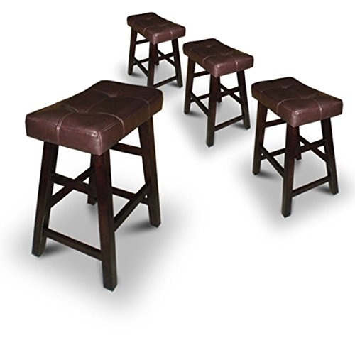 """Legacy Decor 4 29"""" Dark Espresso Wood Bar Stools with Bonded Faux Leather Seat"""