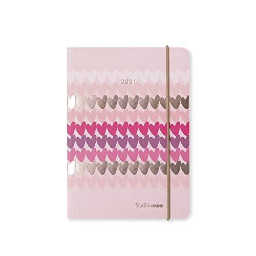 Matilda MOO 2021 Flex Cover A6 - Agenda de día a página, color rosa