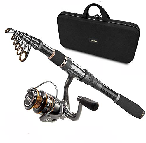 PLUSINNO Telescopic Fishing Rod and Reel Combos Full Kit, Carbon Fiber Fishing Pole, 12 +1 Shielded...
