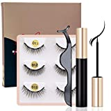 HSBCC Upgraded Magnetic Eyeliner and Lashes Magnetic Eyelashes Kit False Lashes 3 Style with Tweezers