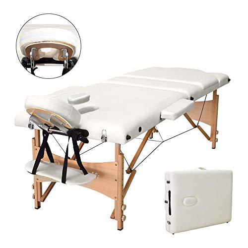 Vesgantti Massageliege Massagestuhl Holz Kosmetikliegen 3 Zonen Mobile Massagetisch klappbar höhenverstellbar Therapieliege tragbar für Therapiebehandlung inkl. Kopfstütze + Tragetasche (Beige)