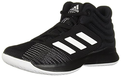 adidas Unisex-Kid's Pro Spark 2018 Basketball Shoe, Black/White/Grey, 3 M US Little Kid