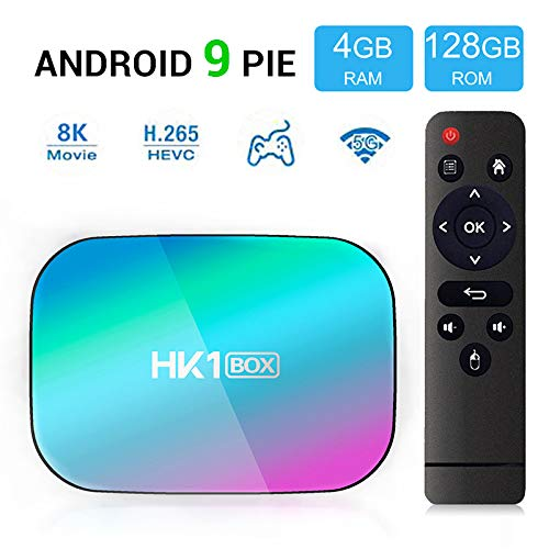 ROWEQPP HK1 Box 4GB 128GB TV Box 8K S905X3 Android 9.0 1000M Dual WiFi 4K 60fps for Google Player Netflix YouTube Media Player 4 + 64GB US Plug