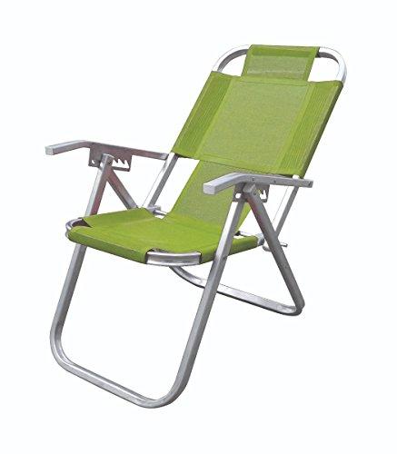 Cadeira De Praia Reclinavel Ipanema Extra Alta Verde 5 Posições