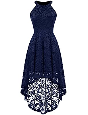 Good quality lace, soft, stretch, light weight and skin-friendly. Deft design: high-low hemline, halter-neck, lace floral, back zipper. Perfect for Wedding Party, Hosting, Bridesmaid Dresses, Cocktail and many special occasions. The collar style high...
