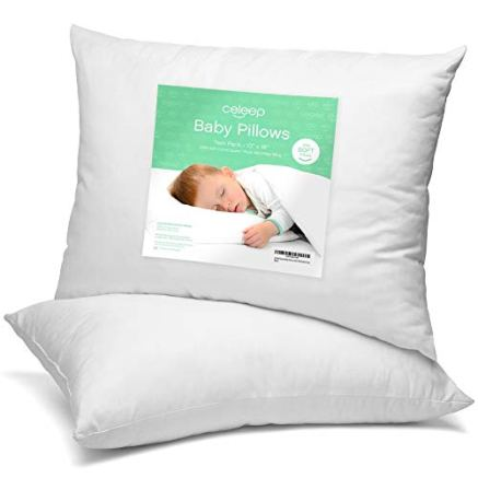 Celeep Baby Pillow Set [2-Pack] - 13 x 18 Inches Organic Toddler Bedding Small Pillow - Baby Pillow with 100% Natural Cotton Cover