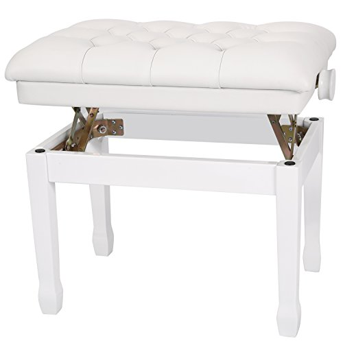 Neewer 46-56 Zentimeter Höhenverstellbare gepolsterte Holz Klavierbank mit dicken und weichen Kunstleder Kissen für Comfort (weiß)
