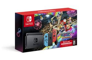 Nintendo Switch w/ Neon Blue & Neon Red Joy-Con + Mario Kart 8 Deluxe (Full Game Download) + 3 Month Nintendo Switch…