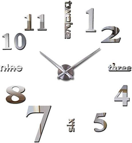 Orologio da Parete Silenzioso Preciso Fai da Te, Orologio Parete Moderno Decorazione, Grande Orologio da Parete 3D Adesivo Home Office Decor Regalo (argento)