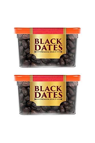 Manna Black Dates, 800g - Premium Imported Black Dates. 100% Natural. Rich in Iron, Fibre & Vitamins (400g x 2 Packs)