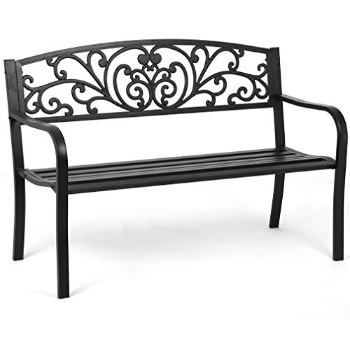 Garden Bench Outdoor Bench Patio Bench Cushions for Outdoors Metal...