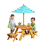 KidKraft Outdoor Wooden Table & Bench Set with Striped Umbrella, Children's Backyard Furniture, Turquoise and White, Gift for Ages 3-8, Amazon Exclusive