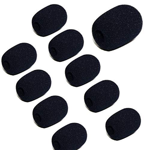 10 Pcs Mini Lapel Headset Foam Microphone Windscreens Windshied Headset Foam,Mic Sponge Foam Cover Shield (Black)