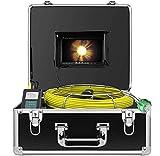 Cámara de Alcantarillado, Endoscopio de Video Inspección de Tuberías Industriales con Función DVR Cámara de Tubería Profesional IP68 Impermeable con LCD de 7' 1000TVL CCD (Tarjeta SD de 8GB Incluida)