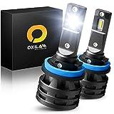 OXILAM H11 H8 H9 LED Headlight Bulbs, 50W 10000 Lumens 6000K White Extremely Bright, 360 Degrees Illumination Mini H11 LED Headlamps, Pack of 2