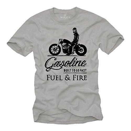 Camiseta Sons of Anarchy - Vintage T-Shirt de Motos - Regalos Originales Hombre Gris XL