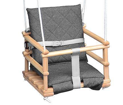 Kinderschaukel Babyschaukel Holz Babywippe Zimmerschaukel Indoor Baby Schaukel Stoff Babysitz Baby Schaukel zum Aufhängen 4 in 1 (Natural/Grau)