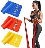 Haquno Bande Elastiche Fitness (3 Pezzi)1,5 m Fasce Elastiche con 3 Livelli di Resistenza, Fascia Elastica Esercizi Ideale per Yoga, Pilates, Allenamento...