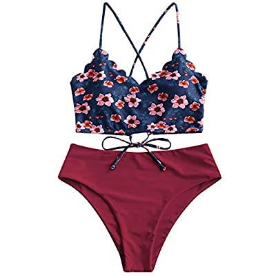 Crop top features thin criss-cross straps cascading into a seductive and adjustable lace-up back. Bottoms deliver a high-rise fit and moderate backside coverage. Material: Polyester,Spandex. Quick-drying, Pro-skin, High flexibility and elasticity .Th...
