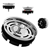 CLEESINK Kitchen Sink Stopper with Basket Strainer for Standard Drain or 3 Bolt Mount Garbage Disposal, Stainless Steel, 3 3/8 Inch
