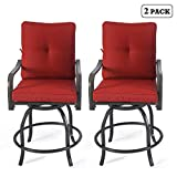Kozyard Isabella High Swivel Bar Stools/Chair Set for Home Patio, Back Yard, Cafes, Bistro, Restaurants and Chic Bars (Burgundy)