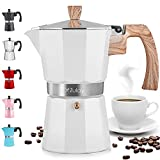 Zulay Classic Stovetop Espresso Maker for Great Flavored Strong Espresso, Classic Italian Style 5.5 Espresso Cup Moka Pot, Makes Delicious Coffee, Easy to Operate & Quick Cleanup Pot (White)