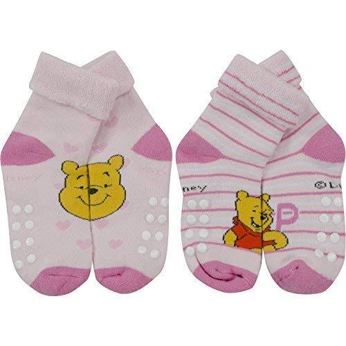 Winnie the Pooh - Baby Frottee-Socken mit Anti-Rutsch Noppen, 2er Pack, Rosa, Gr. 23/26