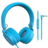 PuroBasic Volume Limiting Wired Headphones for Kids, Boys, Girls 2+ Foldable & Adjustable Headband, Compatible with iPad, iPhone, Android, PC & Mac – by Puro Sound Labs, (Blue)