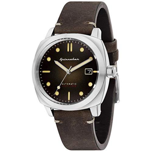 SPINNAKER Hull Herren-Armbanduhr 42mm Armband Leder Braun Automatik SP-5059-02