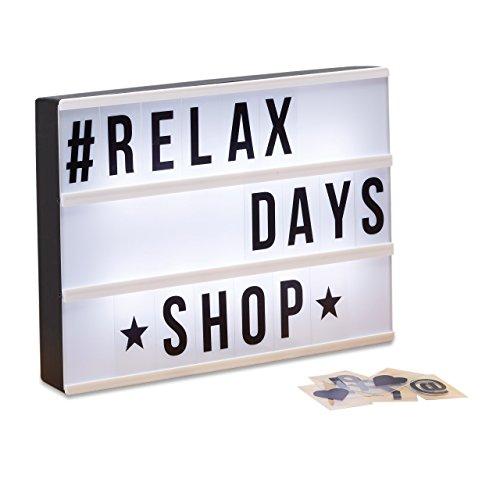Relaxdays 10021538 Light-Box con 85 Caratteri, Lettere, Numeri Luci a LED, HxLxP: 22 x 30 x 4,3 cm,...
