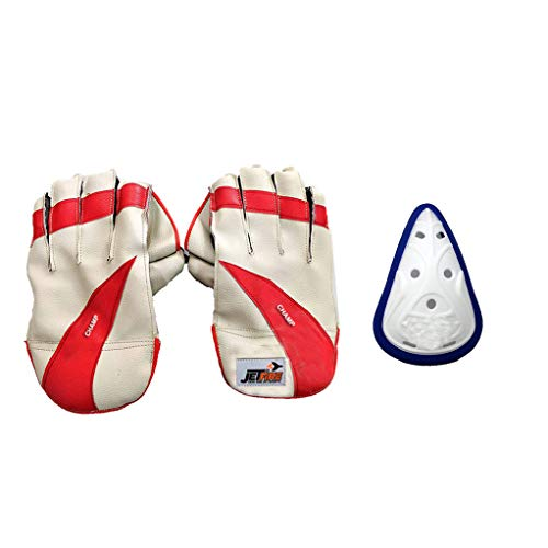 Champ Wicket Keeping Gloves Combo with Abdominal Guard Wicket Keeping Gloves (Multicolor)