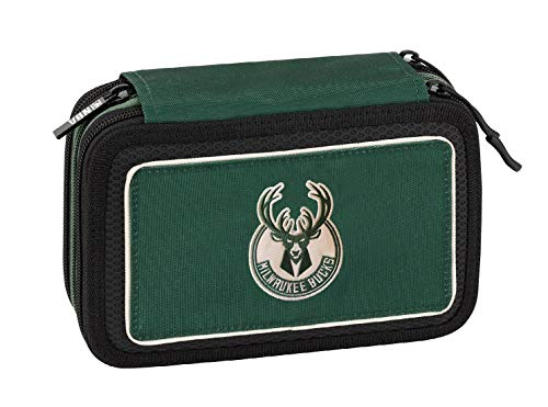 NBA Milwaukee Bucks Astuccio 3 ZIP Completo Di Cancelleria