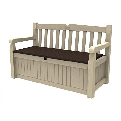 Keter Cassapanca Eden Storage Bench con Capacità di 265 Litri in Resina, Resistente agli Agenti Atmosferici, Colore Beige/Marrone, 140 x 60 x 84 cm