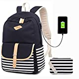 Canvas School Backpack USB College Bookbag 15.6 inch Laptop Backpack with USB Charging Port