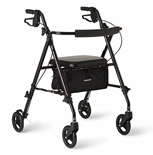 Medline Freedom Lightweight Folding Aluminum Mobility Rollator Walker with 6-inch Wheels, Adjustable Seat and Arms, Black