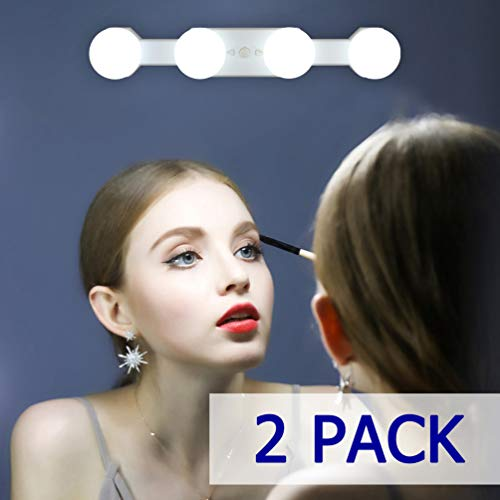 2 Pack Aipsun Portable Makeup Lights Cordless Rechargeable LED Vanity Mirror Light 4 LED Bulbs Brightness Color Temperature Adjustable for Bathroom Dressing Room Vanity Table(Mirror Not Included)