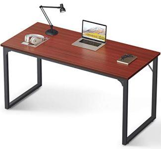 Coleshome Computer Desk 55', Modern Simple Style Desk for Home Office, Sturdy Writing Desk,Teak