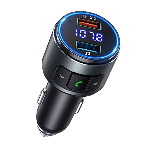 Transmetteur FM Bluetooth 5.0 VS Life MA Kit Main Libre Voiture Bluetooth Adaptateur Chargeur Rapide QC3.0 Allume Cigare Bluetooth Voiture Musique Hi-FI Support Clé USB