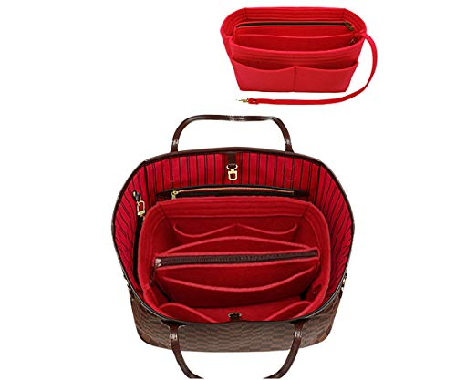 Felt Purse Insert Handbag Organizer Bag in Bag Organizer with zipper Bag Tote Shaper for Speedy Neverfull 8021 Red M