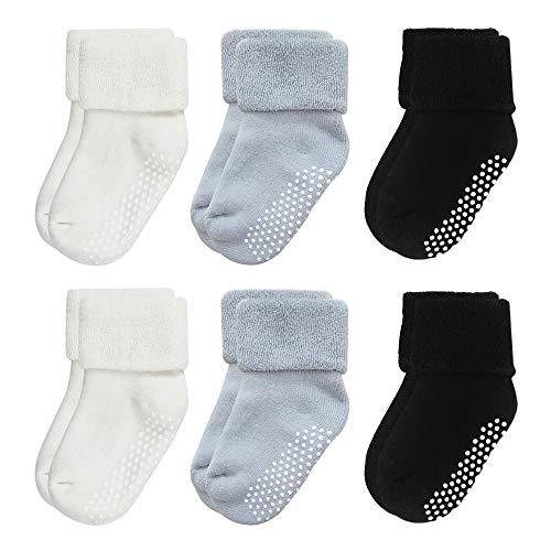 VWU Calzini Calze Invernali Caldo Cotone taglio basso Bambini e Neonati Confezione da 6/8 Paia (Grigio Nero Bianco, 3-12 Mesi)