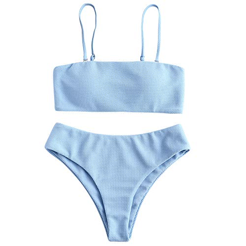 ZAFUL Bikini Textured Removable Straps Padded Bandeau Two Piece Bathing Suits for Women Blau S