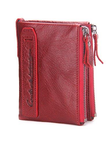Contacts Herren Geldbörse Echtes Leder-Bifold Wallet Doppel Reißverschlusstasche Geldbeutel Rot …