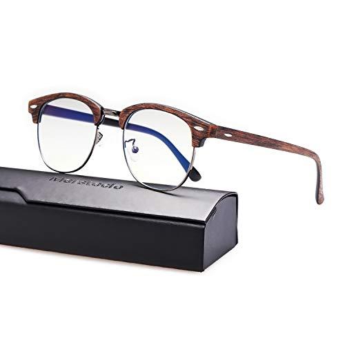 Merstoclo Blue Light Blocking Glasses, Semi Rimless Clear Lens, Anti Eyestrain UV Filter Lens Lightweight Frame, Men/Women (Brown Wood Grain Frame)