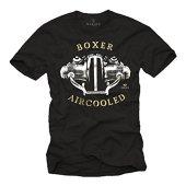 MAKAYA Camisetas Moteras Hombre - Aircooled Boxer - T-Shirt Moto R100 Negro L