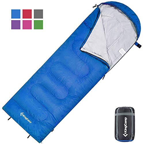 KingCamp Envelope Sleeping Bag 3 Season Spliced Adult Portable Lightweight Comfort with Compression Sack for Adults Kids Camping Backpack Temp Rating 44F