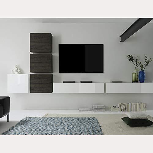 NOUVOMEUBLE Mobile TV da Parete, Design Bianco e Colore weng Capena