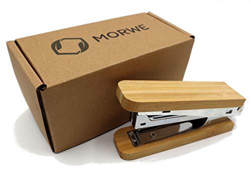 MORWE - Cucitrice da ufficio in legno di bamb sostenibile Cucitrice a mano senza plastica Cucitrice da ufficio Cucitrice per graffette Elegante Cucitrice in legno Cucitrice a mano in bamb
