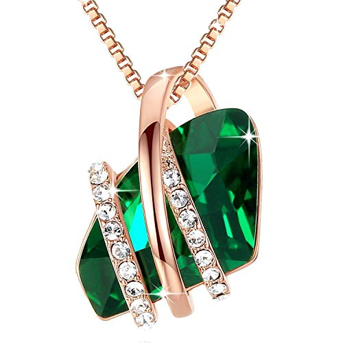Leafael Wish Stone Pendant Necklace Made Swarovski Crystals (Emerald Green Rose Gold Plated) Gift…