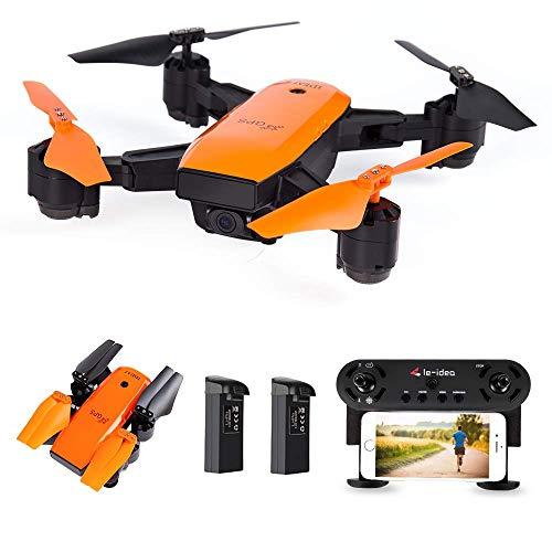 le-idea IDEA7 - Drone GPS con videocamera 1080P Fov 120 , Trasmissione Live WiFi FPV HD, Follow Me, GPS Return Home, Elicottero RC per Principianti ed esperti, Colore Arancione (Versione aggiornata)